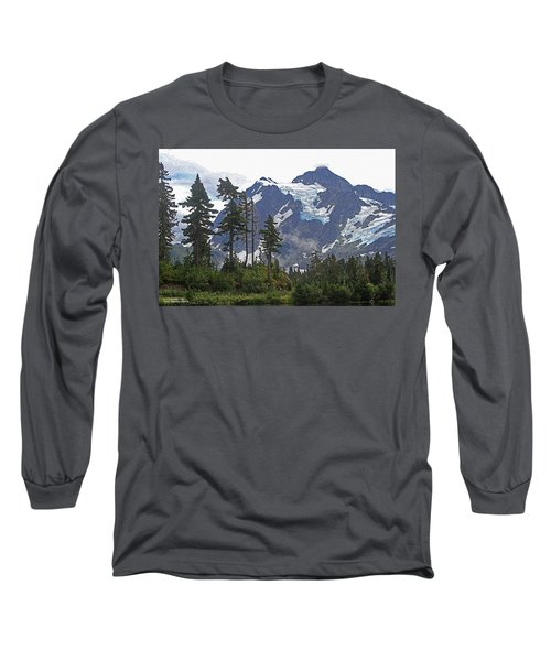Mount Baker And Fir Trees And Glaciers And Fog Long Sleeve T-Shirt by Tom Janca