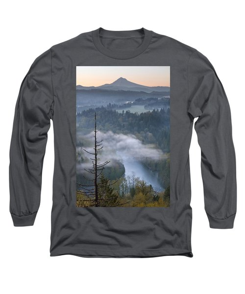 Long Sleeve T-Shirt featuring the photograph Mount Hood And Sandy River At Sunrise by JPLDesigns