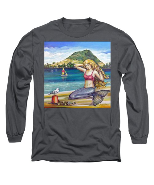 Mount Maunganui Beach Mermaid 160313 Long Sleeve T-Shirt