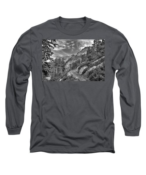 Mount Pilchuck Black And White Long Sleeve T-Shirt by Charlie Duncan