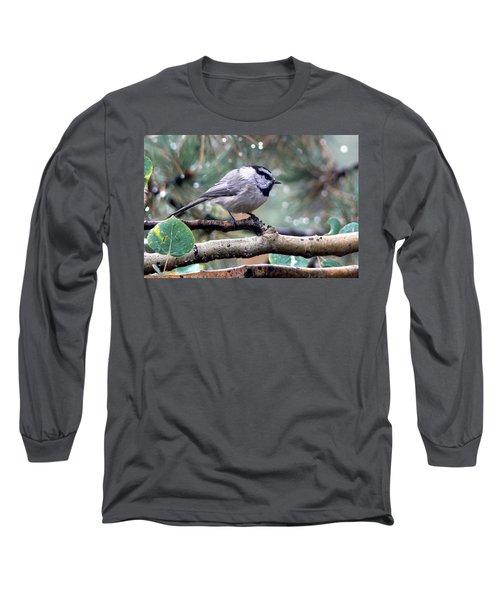 Mountain Chickadee On A Rainy Day Long Sleeve T-Shirt
