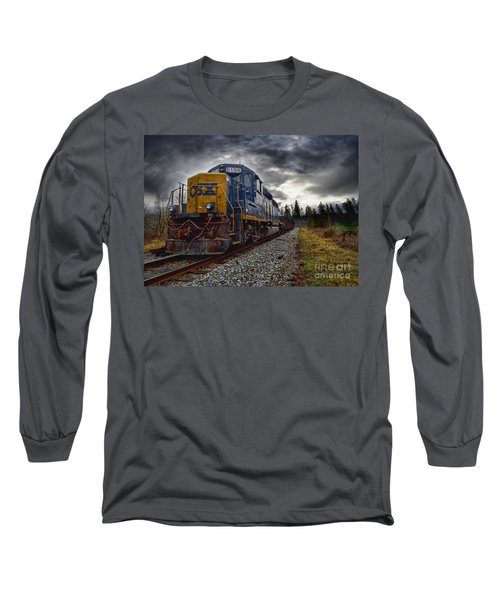 Moving Along In A Train Engine Long Sleeve T-Shirt by Melissa Messick