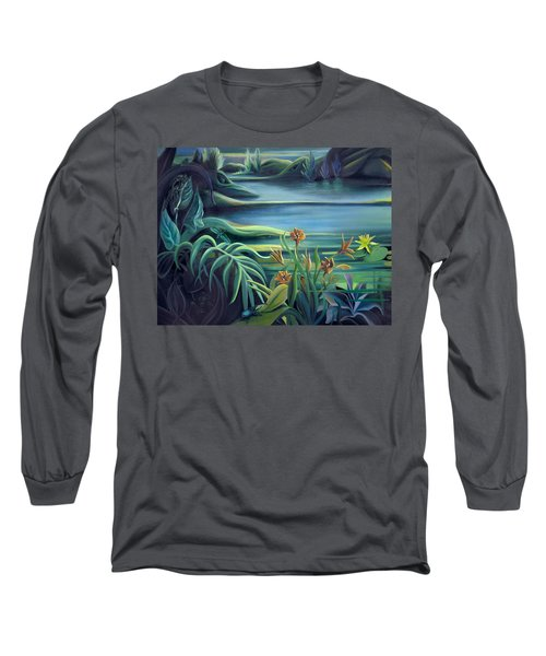 Mural Bird Of Summers To Come Long Sleeve T-Shirt by Nancy Griswold