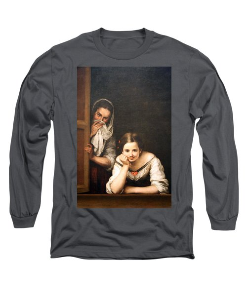 Murillo's Two Women At A Window Long Sleeve T-Shirt by Cora Wandel