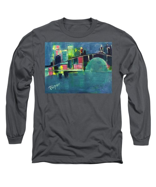 Long Sleeve T-Shirt featuring the painting My Kind Of City by Betty Pieper