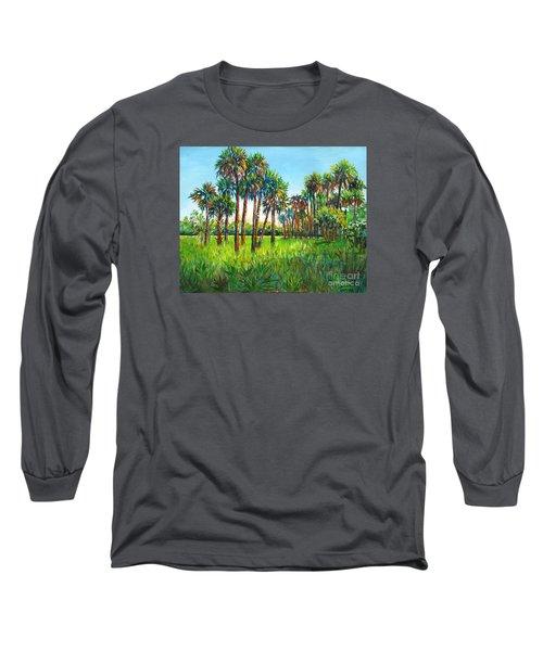 Long Sleeve T-Shirt featuring the painting Myakka Palms by Lou Ann Bagnall