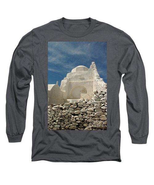 Long Sleeve T-Shirt featuring the photograph Mykonos Church by Vivian Christopher