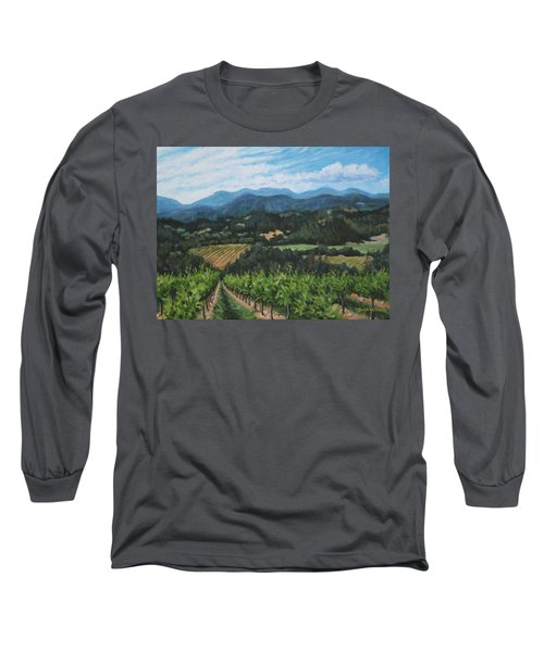Long Sleeve T-Shirt featuring the painting Napa Valley Vineyard by Penny Birch-Williams