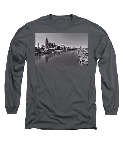 Nashville Skyline In Black And White At Day Long Sleeve T-Shirt by Dan Sproul