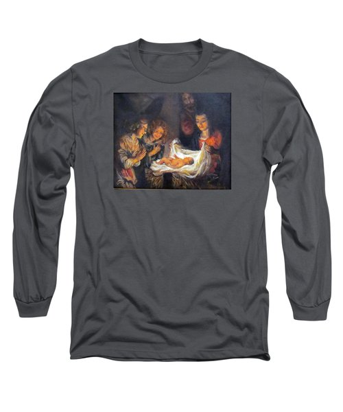 Long Sleeve T-Shirt featuring the painting Nativity Scene Study by Donna Tucker