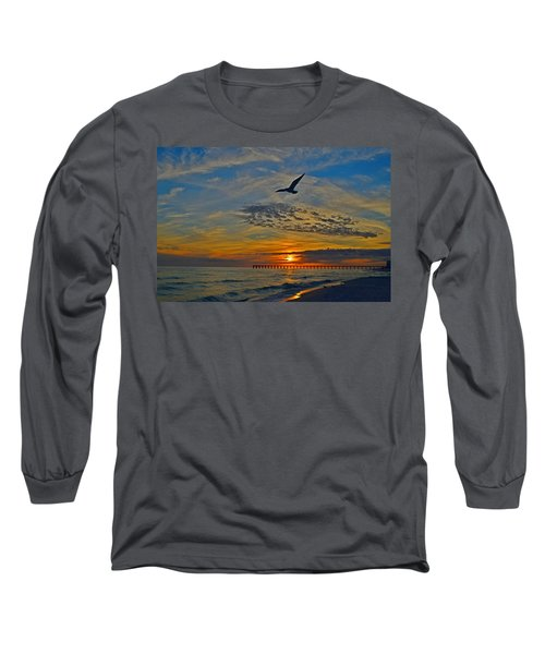 Long Sleeve T-Shirt featuring the photograph Navarre Beach And Pier Sunset Colors With Gulls And Waves by Jeff at JSJ Photography