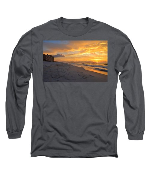 Navarre Pier And Navarre Beach Skyline At Sunrise With Gulls Long Sleeve T-Shirt