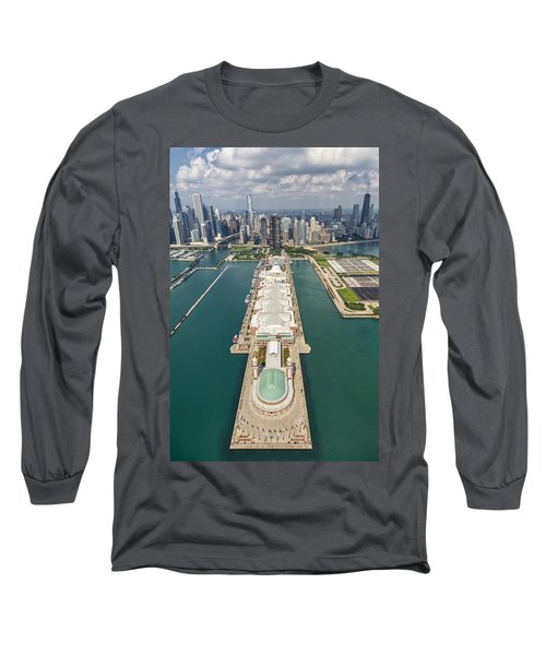 Navy Pier Chicago Aerial Long Sleeve T-Shirt by Adam Romanowicz