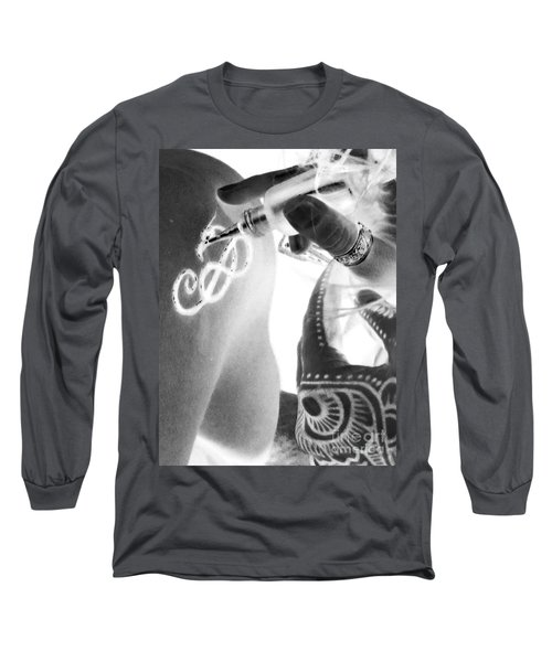 Long Sleeve T-Shirt featuring the digital art Negative Henna Hands II by Jennie Breeze