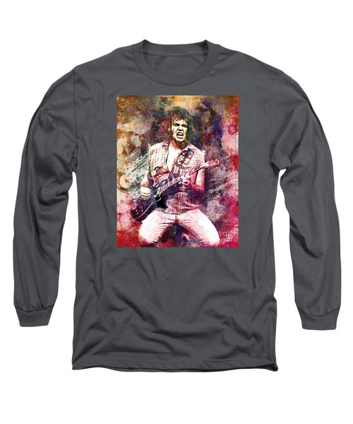 Neil Young Original Painting Print Long Sleeve T-Shirt