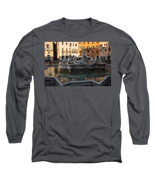 Long Sleeve T-Shirt featuring the photograph Neptune Fountain Rome Italy by Georgia Mizuleva