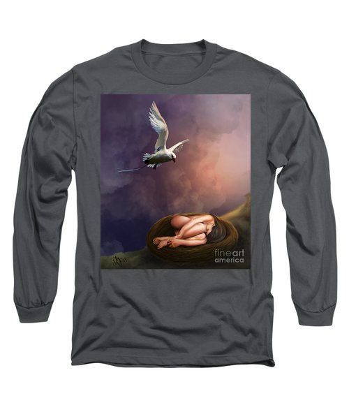 Long Sleeve T-Shirt featuring the digital art Nesting Woman by Rosa Cobos