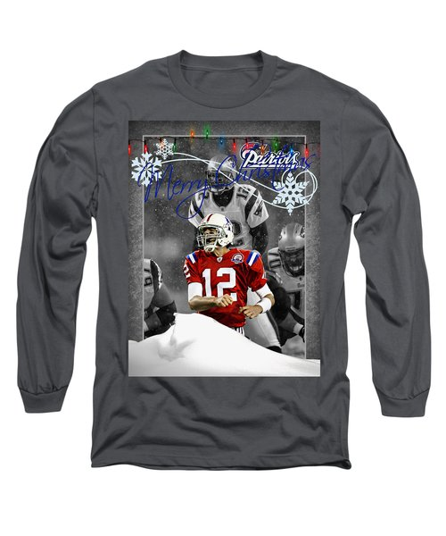 New England Patriots Christmas Card Long Sleeve T-Shirt