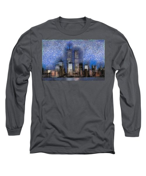 New York City Blue And White Skyline Long Sleeve T-Shirt
