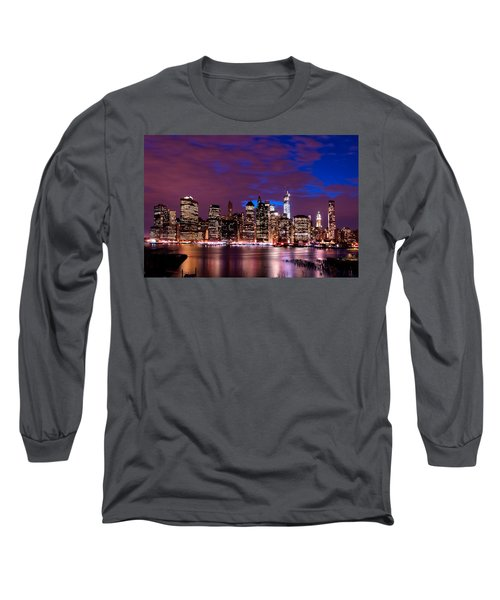 Long Sleeve T-Shirt featuring the photograph New York Skyline Magic Hour-- From Brooklyn Heights Promenade by Mitchell R Grosky