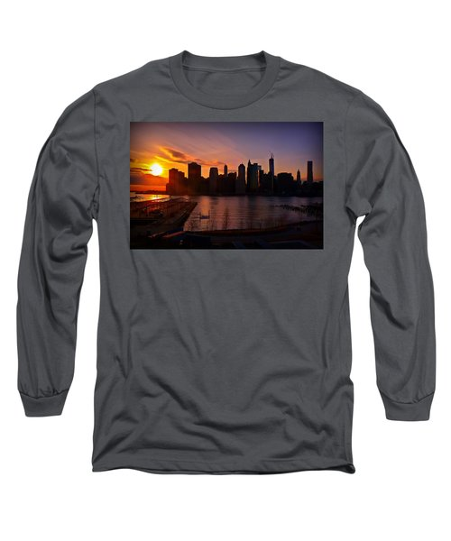 Long Sleeve T-Shirt featuring the photograph New York Skyline Sunset -- From Brooklyn Heights Promenade by Mitchell R Grosky