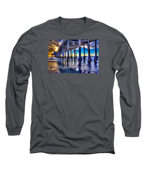 Long Sleeve T-Shirt featuring the photograph Newport Beach Pier - Low Tide by Jim Carrell