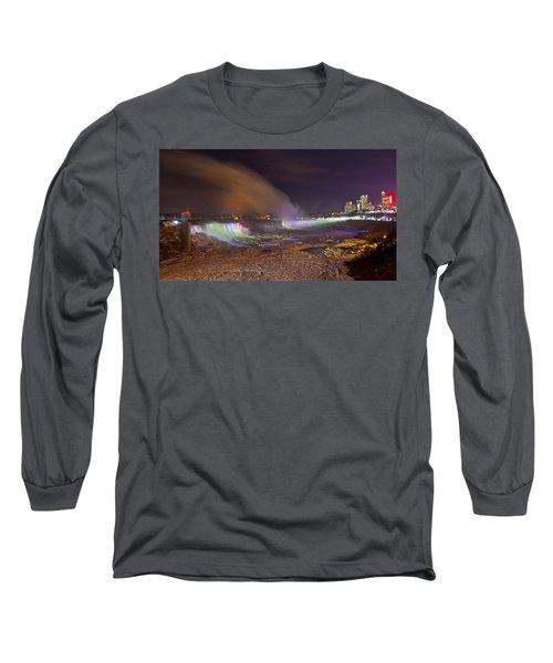 Niagara Falls Ice Bridge Long Sleeve T-Shirt by Richard Engelbrecht