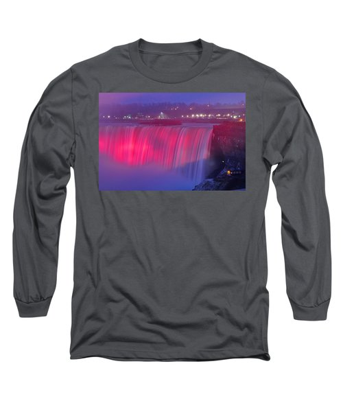 Niagara Falls Pretty In Pink Lights. Long Sleeve T-Shirt