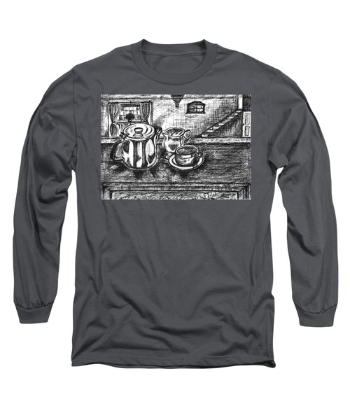 Long Sleeve T-Shirt featuring the drawing Nice Cup Of Tea by Teresa White