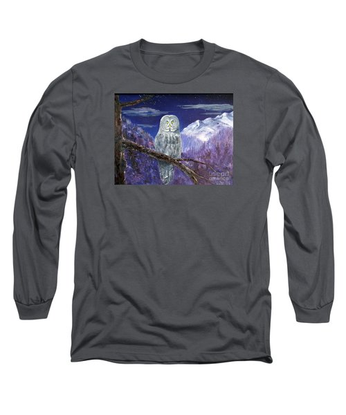 Long Sleeve T-Shirt featuring the painting Night Hunter by Lee Piper