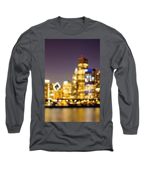 Night Lights - Abstract Chicago Skyline Long Sleeve T-Shirt
