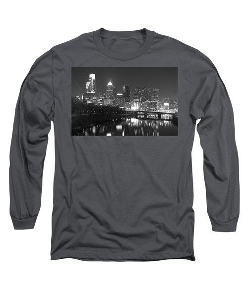 Long Sleeve T-Shirt featuring the photograph Nighttime In Philadelphia by Alice Gipson
