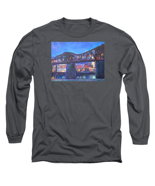 City At Night Downtown Evening Scene Original Contemporary Painting For Sale Long Sleeve T-Shirt by Quin Sweetman