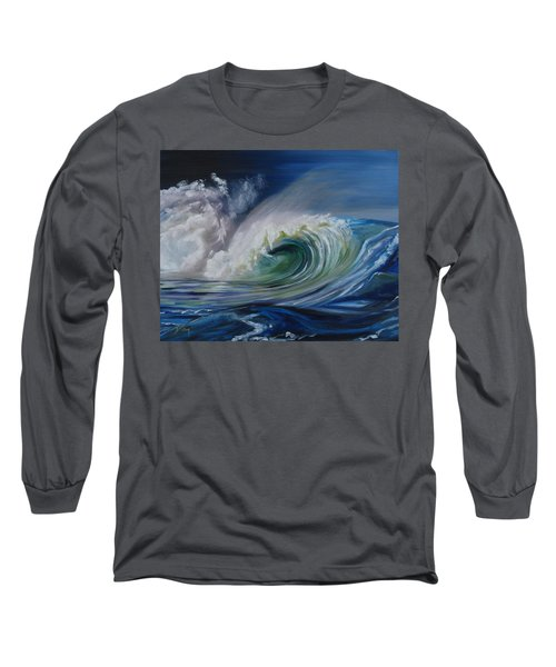 Long Sleeve T-Shirt featuring the painting North Shore Curl by Donna Tuten