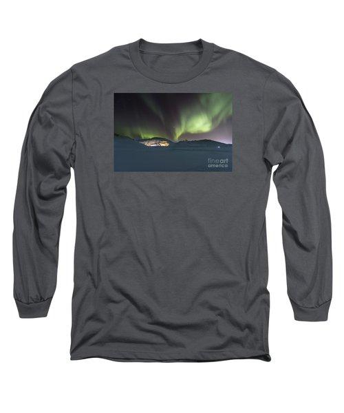 Northern Lights Iceland Long Sleeve T-Shirt by Gunnar Orn Arnason