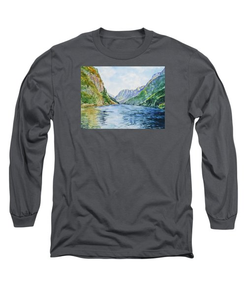Long Sleeve T-Shirt featuring the painting Norway Fjord by Irina Sztukowski