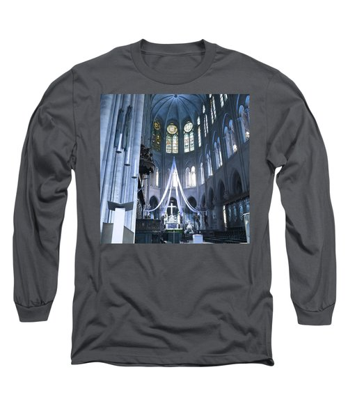 Notre Dame Altar Teal Paris France Long Sleeve T-Shirt