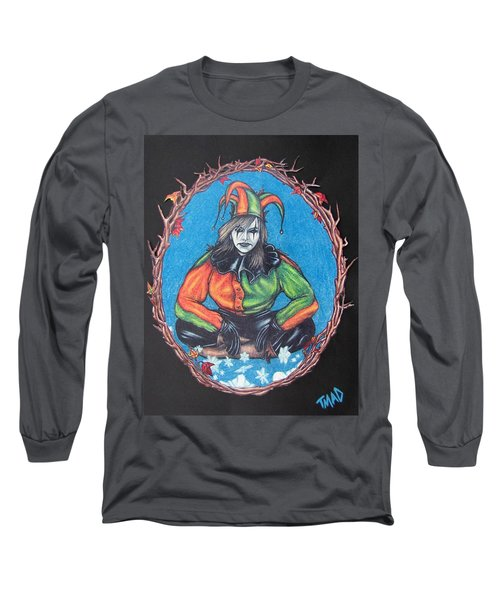 Long Sleeve T-Shirt featuring the drawing November Snow by Michael  TMAD Finney