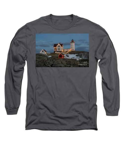 Nubble Lighthouse At Christmas Long Sleeve T-Shirt