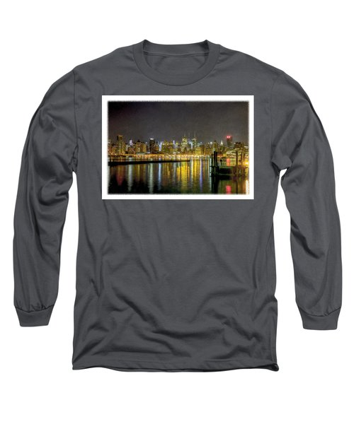 Nyc At Night Faux Oil Long Sleeve T-Shirt