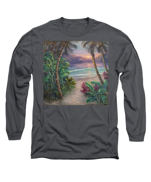 Ocean Sunrise Painting With Tropical Palm Trees  Long Sleeve T-Shirt