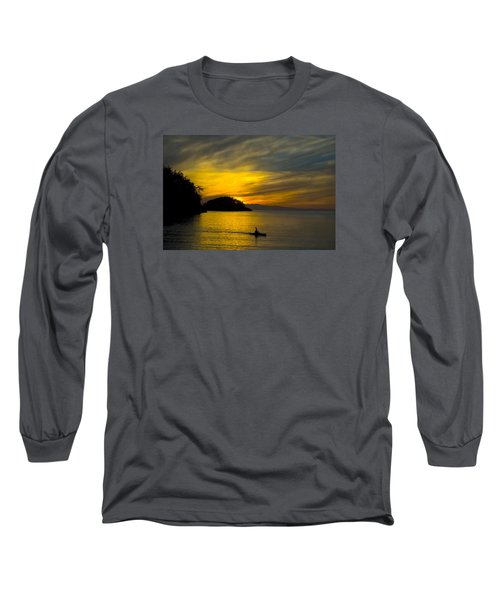 Ocean Sunset At Rosario Strait Long Sleeve T-Shirt by Yulia Kazansky