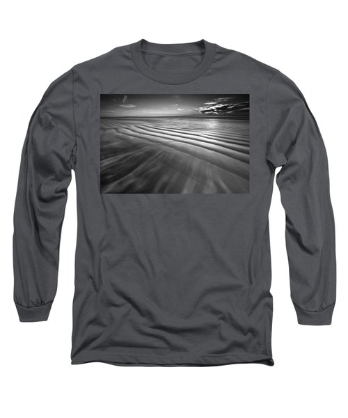 Ocean Waves Seascape Beach Sunrise Photograph In Black And White Long Sleeve T-Shirt