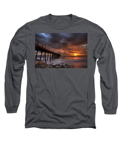Oceanside Pier Perfect Sunset Long Sleeve T-Shirt by Peter Tellone