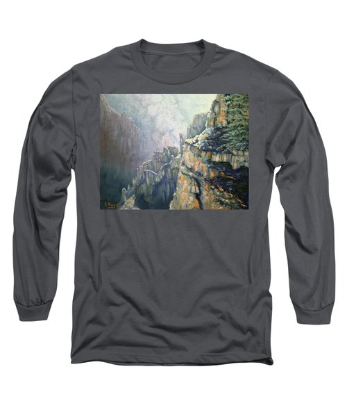 Oil Painting - Majestic Canyon Long Sleeve T-Shirt