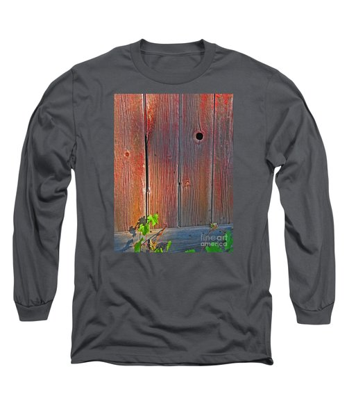 Long Sleeve T-Shirt featuring the photograph Old Barn Wood by Ann Horn