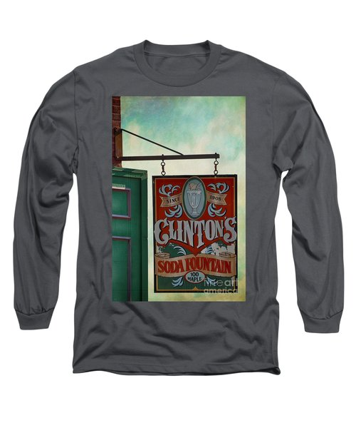 Old Clinton's Soda Fountain Sign Long Sleeve T-Shirt