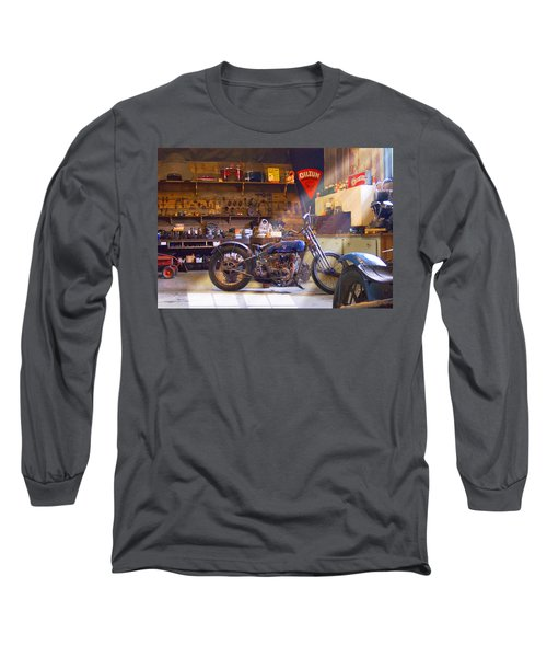 Old Motorcycle Shop 2 Long Sleeve T-Shirt by Mike McGlothlen