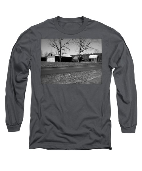 Long Sleeve T-Shirt featuring the photograph Old Red Barn In Black And White by Amazing Photographs AKA Christian Wilson
