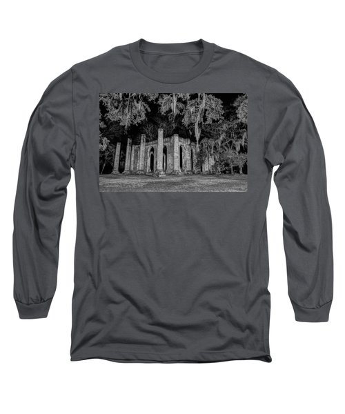 Old Sheldon Church At Night Long Sleeve T-Shirt